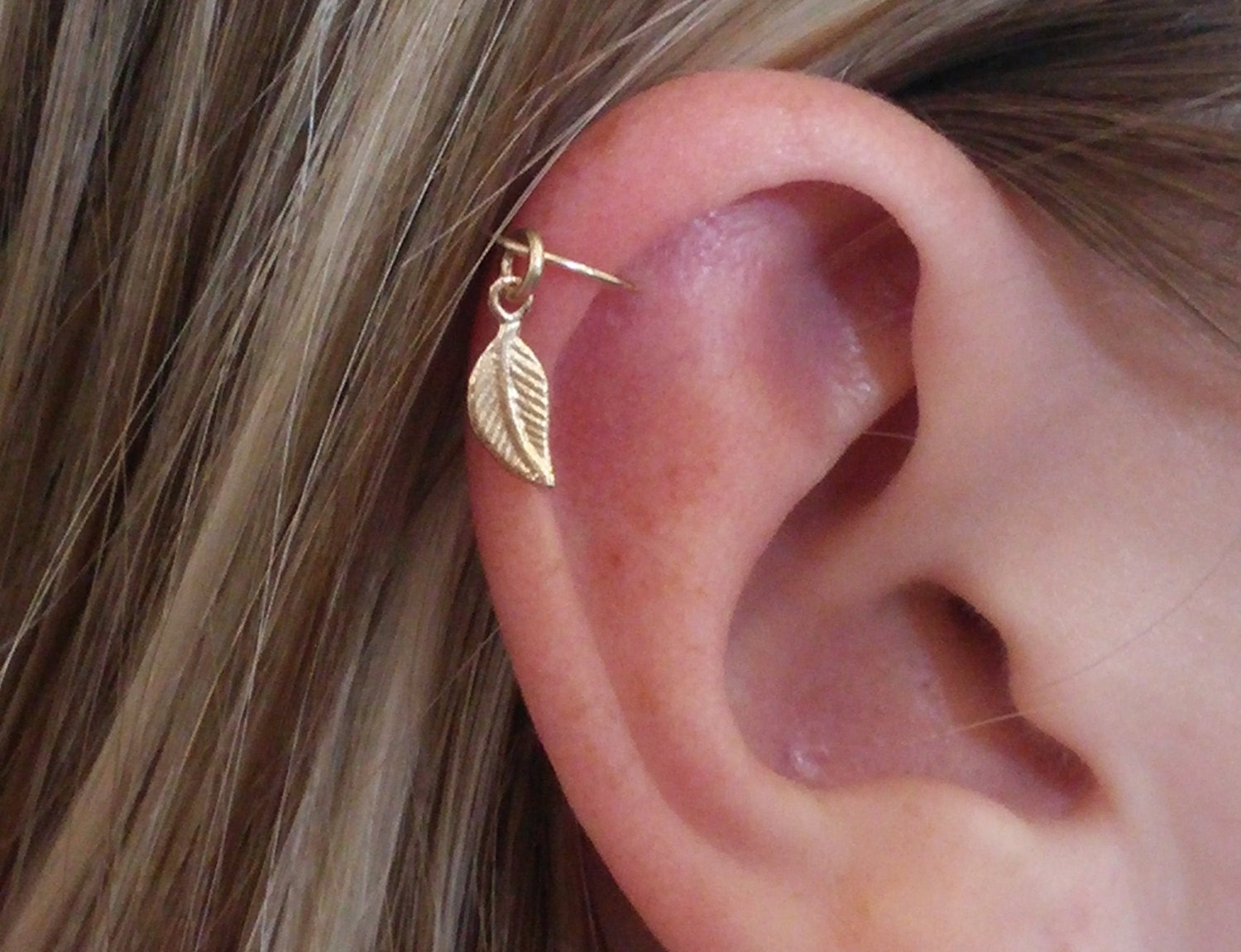 helix earring feather cartilage earring leaf cartilage
