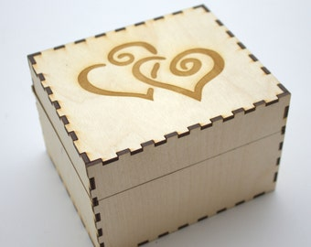 Double-Heart Enraved Wooden Recipe Box