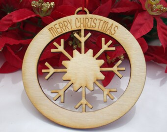 Personalized Wooden Engraved Christmas Ornament, Snowflake Cut-Out