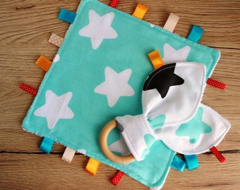 Taggie, New baby boy gift, Sensory blanket, Baby teether, Baby comforter, Baby boy lovey, Security blanket, Doudou, Star baby shower gift