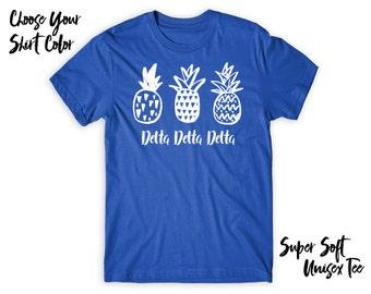 TriDelta Delta Delta Delta Pineapple Trio Choose Your TShirt Color!