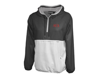 agd alpha gamma delta letters womens colorblock lined anorak sorority pullover jacket