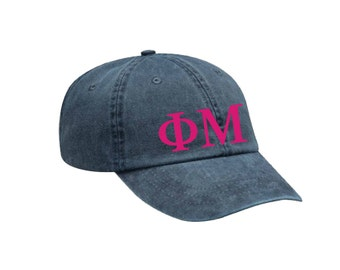 Phi Mu Letters Hat Choose Your Colors Sorority Hat