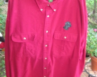 Vintage 4X Regular Cabela's 100% cotton flannel burgundy shirt with labrador retreiver logo. Plus size In like new condition REALLY LARGE