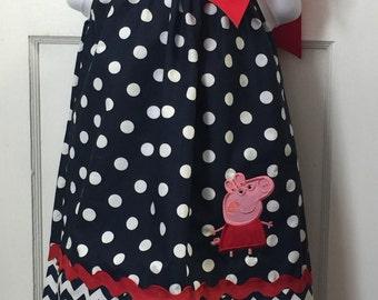 Peppa Pig Dress-Peppa Pig- Pillow Case Dress-Peppa Pig Costume-Peppa Pillow Case Dress-Peppa Pig Birthday-Girl Dresses-Birthday Dress-