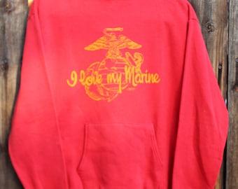 1970's I Love My Marine Red Hoodie