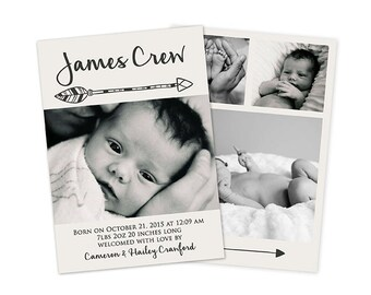 Baby Boy Double Sided Birth Announcement Card, Baby Boy Birth Card