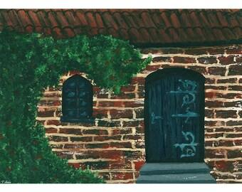 Brick House Digital Watercolor Painting