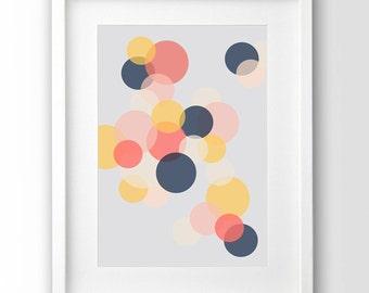 Printable Bubbles Art, Circles Print, Downloadable Art, Geometric Wall Art