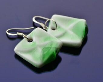 30% Sale Green Crystal Chinese Earrings Porcelain Earrings Dangle Earrings Green china Earrings Green Porcelain Vintage China Earrings Activ