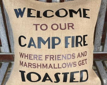 Welcome to our camp fire Burlap Pillow Cover