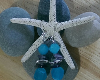 Turquoise Bicone Crystal Beaded Earrings