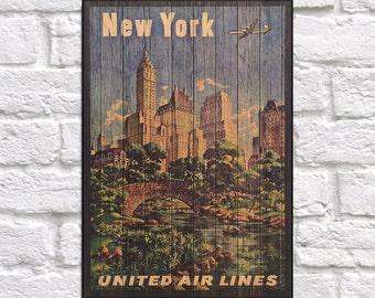 New York print Travel Poster Wood wall art decor Wanderlust Travel Wall art Gift for men Birthday gift for Travelers Panel effect Wood Print