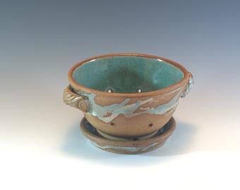 Stoneware Berry Bowl- Berry Bowl Colander- Turquoise White Berry Colander- Ceramic Berry Bowl- Colander- Ceramic Colander - Made To Order