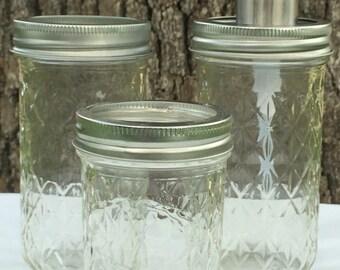 3-Piece Clear Mason Jar Bathroom Set