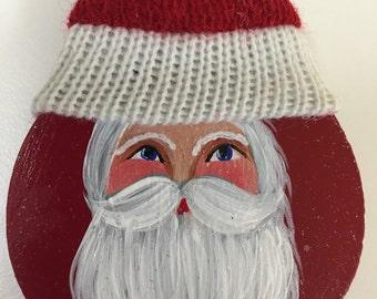Hand Painted Christmas Santa Claus Brooch Pin, Santa Christmas Decor, Jolly Santa Claus, Christmas Brooch, Christmas Pin, Santa Brooch