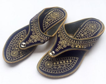 Indian Ethnic Royal Blue Sandals with Gold Embroidery from Enhara, Blue Velvet Back Open Shoes