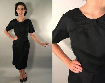 Vintage 1950s Dress | Black Sheath Dress with Bow Yoke | Large