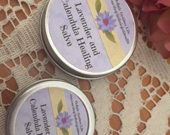 Healing Salve with Organic Lavender and Calendula, Dry Skin, Skin Care, Moisturizer, Salve, Lavender, Calendula