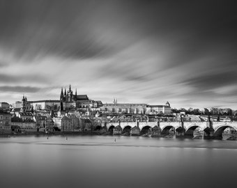 City Fine Art Photo: Prague Charles Bridge, Fine Art Black and White Photo from Prague Czech Republic