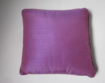Purple Iridescent Decorative Shantung Square Throw Pillow, Vintage Purple Square Decorative Throw Pillow