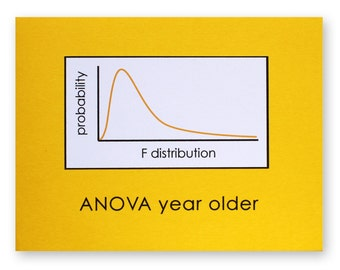 Statistics Birthday Pun Card - ANOVA Year Older Card - Math Nerd Geek Card - Analysis of Variance