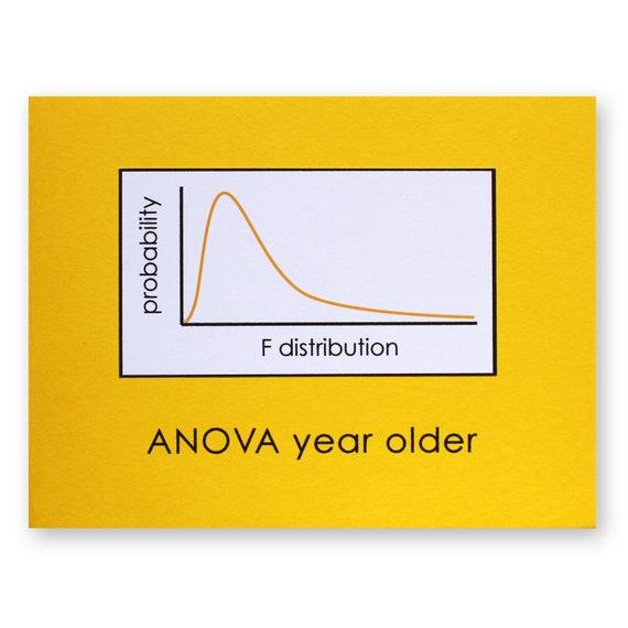 Statistics Birthday Pun Card ANOVA Year Older Card Math