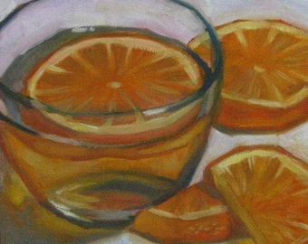Small Fine Art Oil Painting, Oranges, Realism, Still Life, Oil on Canvas Panel, 10 x 10 inches