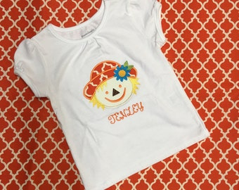 Girls' Short Sleeve Fall Appliqué Tee Shirt, Girls' Appliqué Tee Shirt, Girls' Scarecrow Appliquéd Tee