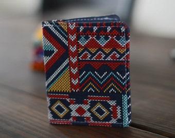 Slim Wallet - Thin Wallet - Slim Wallet - Bi-fold Wallet - Aztec Wallet - Business Card Holder - Handmade Wallet - Navy Wallet