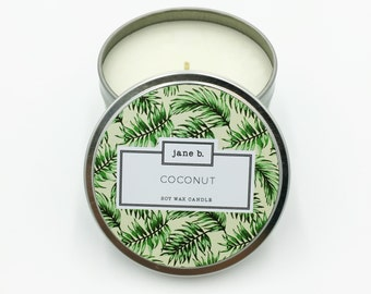 Coconut Scented Candle - 100% Soy, Paraffin Free, Lead Free, In Decorated 8oz Aluminum Tin