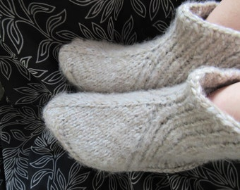 Beige hand knit mohair socks,slippers very thick,warm,soft,fluffy UK 4-11.Kozizake.