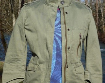 LEVIS XS Green Zippered Military Style Windbreaker green xs zippered jacket
