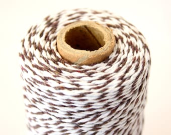 Brown Bakers Twine / Brown and White Stripe / Craft Twine / Brown and White String / Cotton Twine