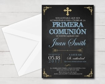 first communion invitation spanish boy, first communion boy, first communion invitation printable, 1st communion, first communion party