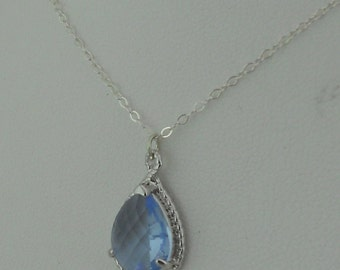 Light Blue Crystal Teardrop Pendant Necklace