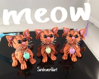 Hanging & freestanding hand sculpted, polymer clay, Ginger tabby cat models