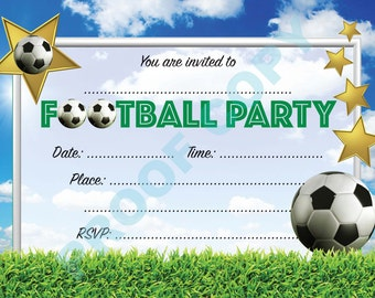 FOOTBALL BIRTHDAY INVITATIONS Kids Childrens Party Invites Pack of 10