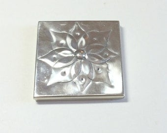 Modern vintage square silver double mirror compact flower compact silver compact mirror compact purse mirror compact purse accessory 1960s