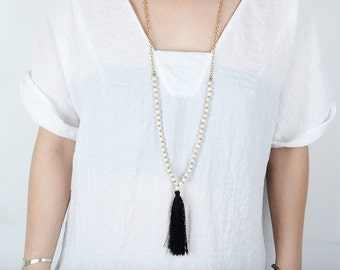 Long Necklace Tassel Black and White Boho