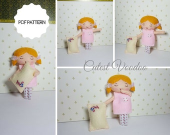 Cute Sleepy Time Girl PDF Felt Pattern