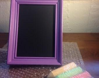Purple 5x7 chalkboard with chalk!