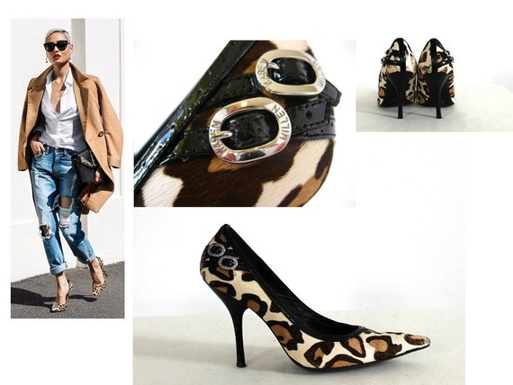 Karen MiIlen Size 5 / 7 Brown Leopard Print Leather Stilletoe Court Shoes 38 / Designer / 90s / Black / Pony Fur / ANIMAL PRINT