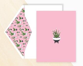Aloe Vera Love - greeting card , Mini Cactus, Cactus Card, Aloe Vera Card, Flowering Cactus, Types of Cactus Plants, Urban Jungle