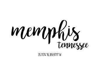 Memphis Tennessee Coordinates Printable