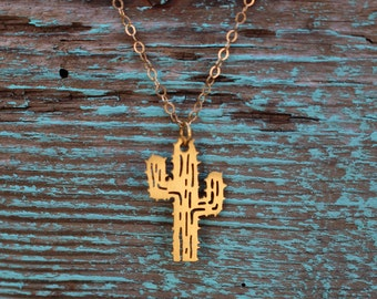 24K Gold Plated Cactus Necklace
