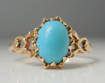Antique Victorian Persian turquoise 10k yellow gold ring, size 6.5