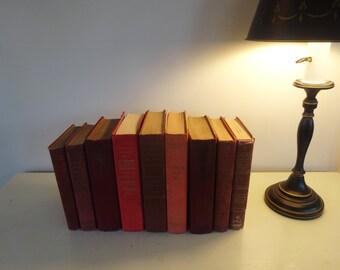 Vintage Decorative Book Set Rose/Red
