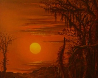 "Fiery Sunset 30"" X 38"" Julio Hurtado"