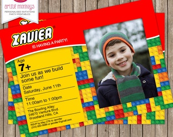 LEGO Inspired Invitation with Photo - You Print